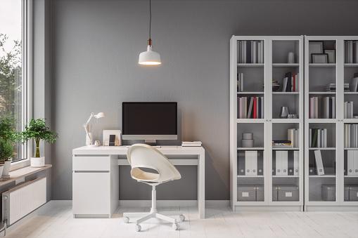 Telecommuting「Modern Home Office Interior」:スマホ壁紙(8)