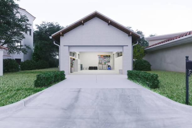Open Garage With Concrete Driveway:スマホ壁紙(壁紙.com)