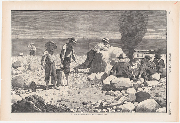 Water's Edge「Sea-Side Sketches - A Clam-Bake (Harpers Weekly,」:写真・画像(9)[壁紙.com]
