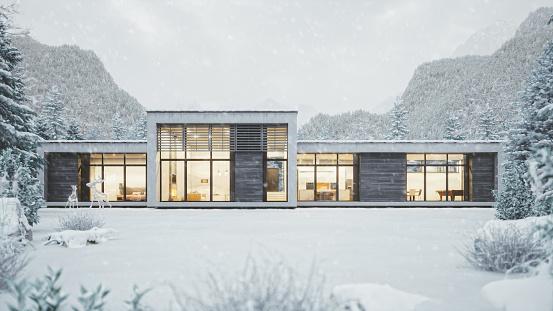 雪「雪の降る天気で近代的なマウンテン ハウス」:スマホ壁紙(6)