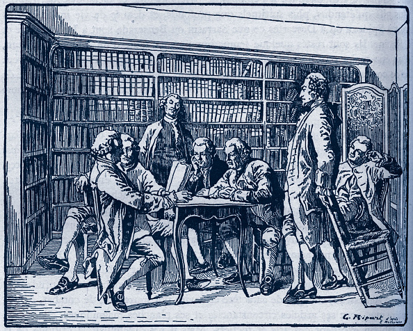 18th Century Style「Denis Diderot - French Enlightenment writer and philosopher, general editor of the famous Encyclopedia (Encyclopédie) at a reading with other encyclopedists.」:写真・画像(19)[壁紙.com]