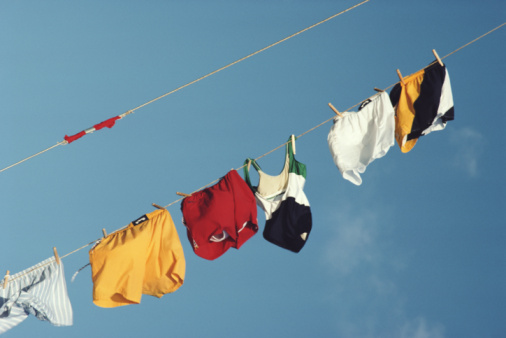 Laundry「Underwear on washing line, low angle view」:スマホ壁紙(9)
