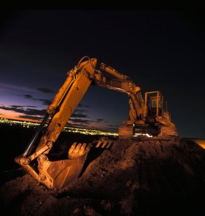 Construction Vehicle「Excavator at Night」:スマホ壁紙(17)