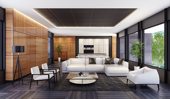 Black Color「Luxury minimalist open space living room with kitchen and dining」:スマホ壁紙(8)