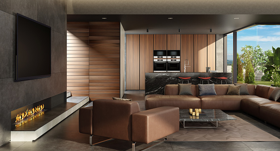 Black Color「Luxury minimalist living room and kitchen with eco fireplace」:スマホ壁紙(5)