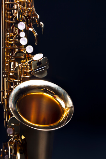Rock Music「Moody blues: saxophone with dark blue copy space」:スマホ壁紙(9)