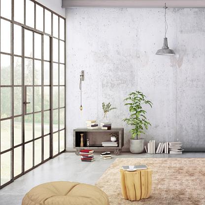 Simplicity「Modern loft interior with blank wall for copy space」:スマホ壁紙(18)
