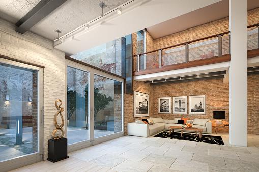 Art「Modern Loft Apartment Interior」:スマホ壁紙(0)
