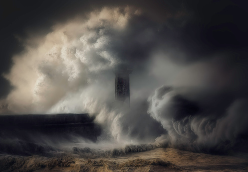 Extreme Weather「Waves crashing against a lighthouse and sea wall, italy」:スマホ壁紙(3)