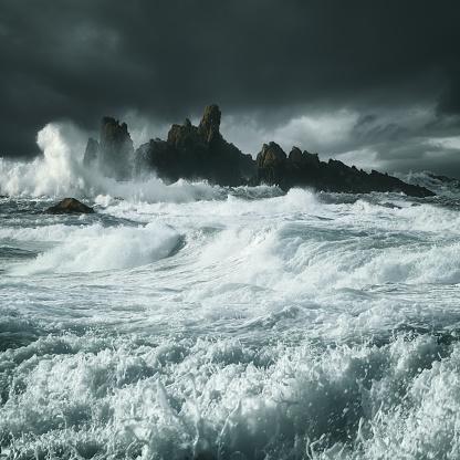 Dramatic Landscape「Waves crashing along rocky coastline, County Antrim, Northern Ireland, UK」:スマホ壁紙(5)