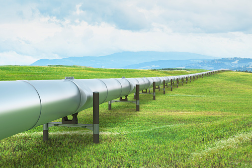 Agricultural Field「Oil pipeline in green landscape」:スマホ壁紙(19)