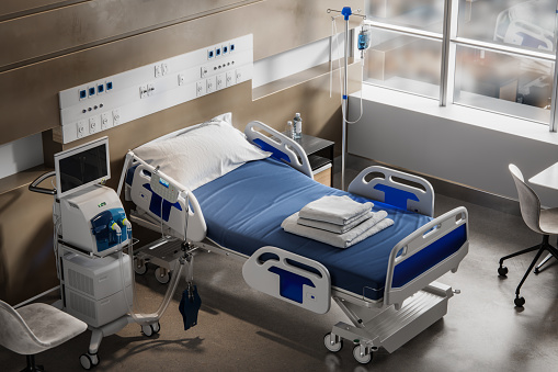 Care「Above view of a digitally generated empty hospital intensive care unit」:スマホ壁紙(7)