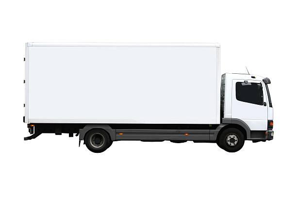 Side view of a plain white truck:スマホ壁紙(壁紙.com)