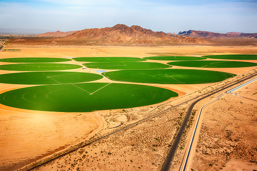 Irrigation Equipment「Circular Crop Fields in the Desert」:スマホ壁紙(4)