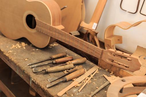 Workshop「Unfinished acustic guitar and tools in workshop」:スマホ壁紙(15)