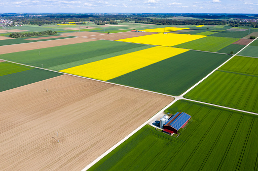 Plowed Field「Agricultural Landscape with Farm Barn, Aerial View」:スマホ壁紙(19)