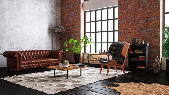 Old-fashioned「Industrial Style Loft Apartment」:スマホ壁紙(5)