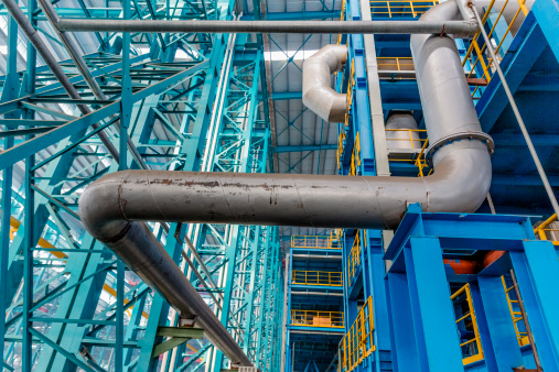 Gas Pipe「Industrial zone, steel pipelines and cables  in a  plant」:スマホ壁紙(16)