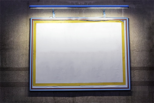 Projection Screen「lighted outdoor billboard on a wall at night」:スマホ壁紙(18)