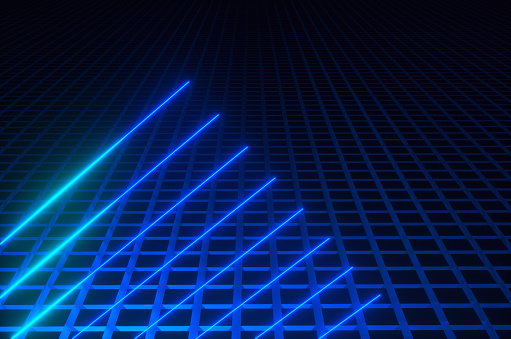 Quantum Computing「Synthwave style blue neon lines in a dark room on the floor of blue squares. 3d render illustration」:スマホ壁紙(1)