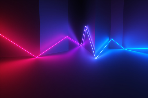 Quantum Computing「Synthwave style zagzag diagram with neon ultraviolet light reflected in the surface of the wall in the night room. 3d render illustration」:スマホ壁紙(17)