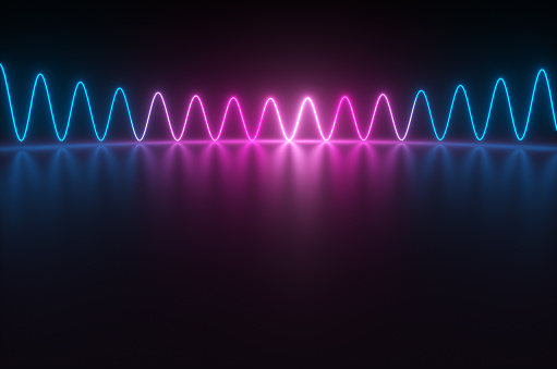 Quantum Computing「Synthwave style zagzag diagram with neon ultraviolet light reflected in the surface in the night room. 3d render illustration」:スマホ壁紙(8)