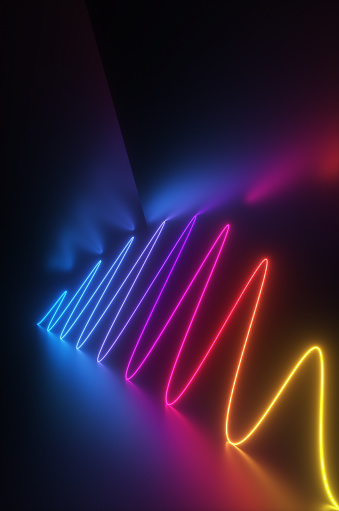 Quantum Computing「Synthwave style zagzag diagram with neon ultraviolet light reflected in the surface in the night room. 3d render illustration」:スマホ壁紙(12)