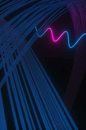 Quantum Computing「Synthwave style zagzag diagram with neon ultraviolet light near an abstract wall  in the night room. 3d render illustration」:スマホ壁紙(18)