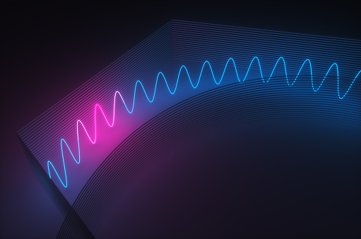 Quantum Computing「Synthwave style zagzag diagram with neon ultraviolet light near an abstract wall  in the night room. 3d render illustration」:スマホ壁紙(14)