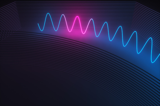 Quantum Computing「Synthwave style zagzag diagram with neon ultraviolet light near an abstract wall  in the night room. 3d render illustration」:スマホ壁紙(19)