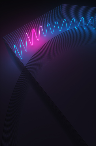 Quantum Computing「Synthwave style zagzag diagram with neon ultraviolet light near an abstract wall  in the night room. 3d render illustration」:スマホ壁紙(16)