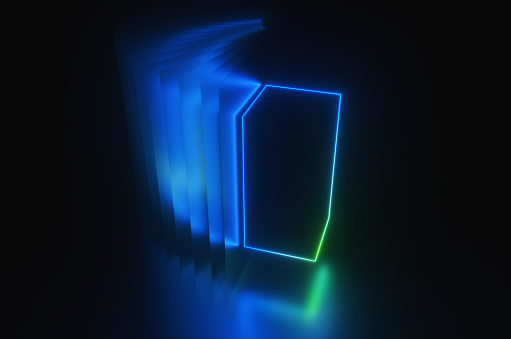 Quantum Computing「Synthwave style abstract frame of neon blue box in the night room reflected in the surface. 3d render illustration」:スマホ壁紙(19)