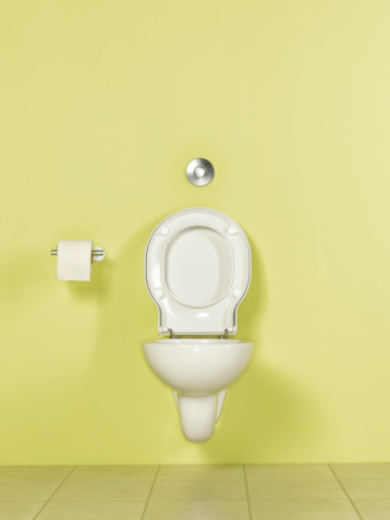 Public Restroom「Toilet in yellow room, front view」:スマホ壁紙(4)
