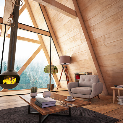 Deck Chair「Wooden Interior with Funiture and Fireplace」:スマホ壁紙(5)