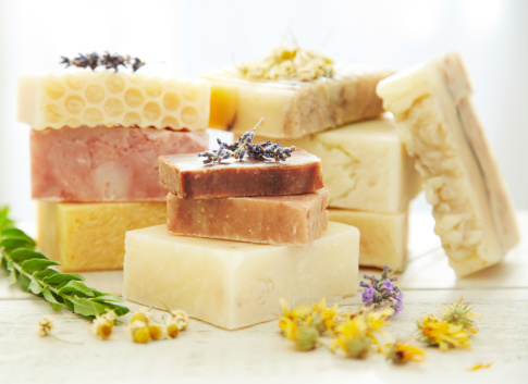 Body Care「Stacks homemade organic bars of soap with lavender on top」:スマホ壁紙(8)
