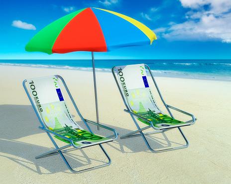 Deck Chair「Two deckchairs and a sunshade at beach」:スマホ壁紙(3)