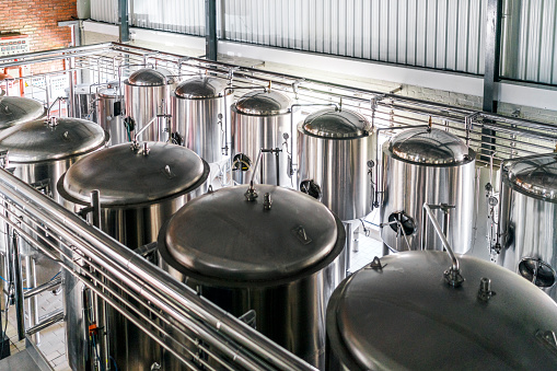 Food And Drink Industry「High angle view of metallic vats in brewery」:スマホ壁紙(16)