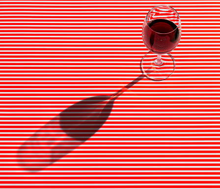 Wineglass「High angle view of red wine served on striped table」:スマホ壁紙(5)
