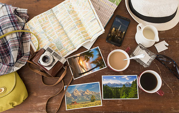 High angle view of coffee, maps, photographs, camera and cell phone:スマホ壁紙(壁紙.com)