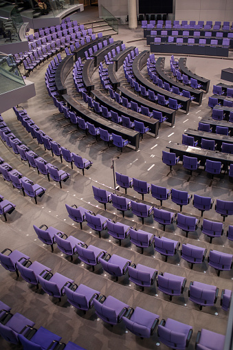 Politics「High angle view of empty chairs in German Parliament hall」:スマホ壁紙(1)