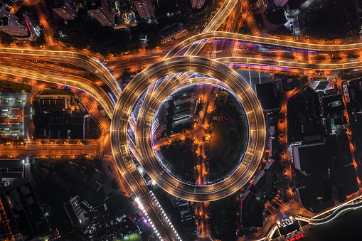 Light Trail「Highway junction aerial view」:スマホ壁紙(3)
