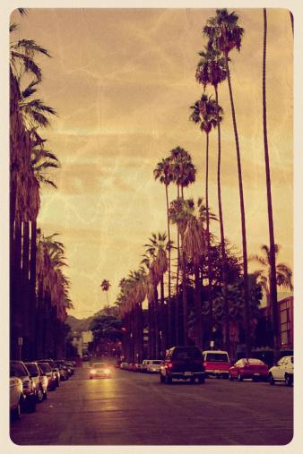 City Of Los Angeles「Sunset Over Hollywood Hills - Vintage Postcard」:スマホ壁紙(16)