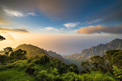 Pacific Islands「Sunset over Kalalau Valley」:スマホ壁紙(18)