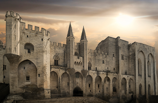Tower「Palais des Papes at sunset in Avignon, France」:スマホ壁紙(12)