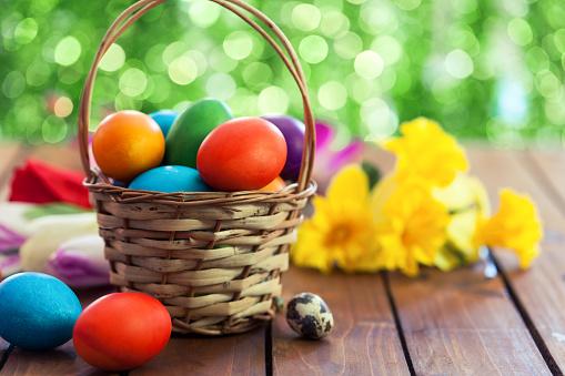 Basket「Colored Easter eggs in basket」:スマホ壁紙(14)
