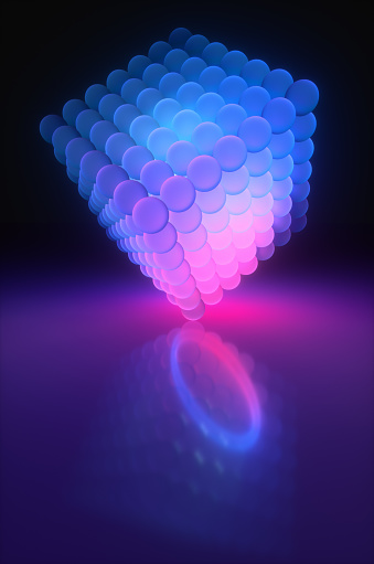 Quantum Computing「A neon cube of glass spheres glows blue and purple in the night room. 3d render illustration」:スマホ壁紙(3)
