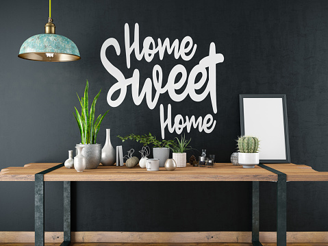Black Color「Home Sweet Home Sign with Table and Decors」:スマホ壁紙(6)