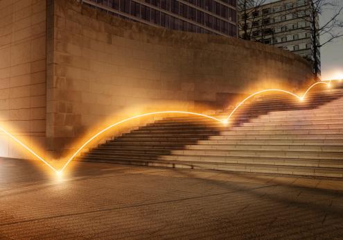 Light Trail「Ligh trail bouncing down steps.」:スマホ壁紙(16)