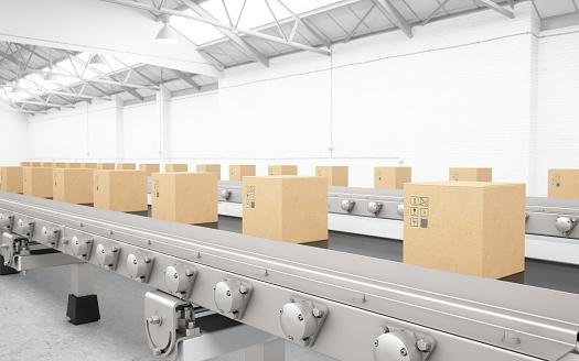 E-commerce「Cardboard boxes on conveyor belt」:スマホ壁紙(6)