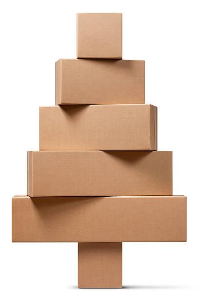 Cardboard boxes in the shape of a Christmas tree:スマホ壁紙(壁紙.com)